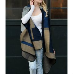 Navy Blue Colorblock Poncho from The Pynk Store