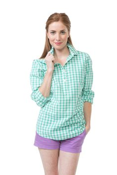 Gingham Brooks Popover - Hushed Green