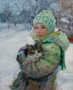 Elena Salnikova was born in Voronezh in 1970 She began to engage in the art studio with eight years. After graduating from art school in Voronezh arrived in Lipetsk State Russian Painting, Russian Art, Figure Painting, Painting & Drawing, She And Her Cat, Images D'art, Paintings I Love, Cat Art, Art Pictures