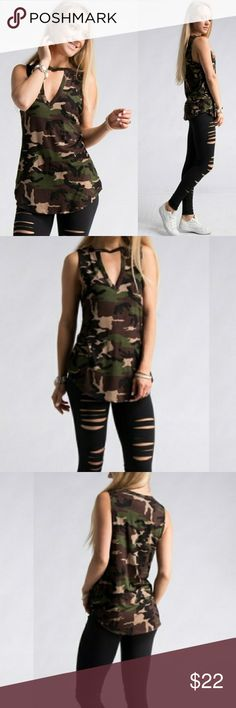 7cb4401bb843b NWT camp choker tank top Brand new choker neck camo tank top! 95% rayon 5%  spandex.Made in USA. 1 small 1 medium or 1 large. Please comment down below  if ...