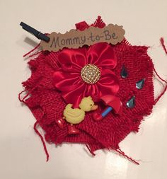 Baby Shower Corsage/ Rubber Ducky Red Mommy-to-Be Corsage/ Rubber Ducky with Red Rainboots
