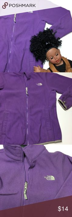 Girls Purple North Face Sweater 💜 Please view photos carefully. This sweater has light stains and a hole through the sleeve striped. Could be restored! Girls size 10/12 which would fit a women's size XXS. Ask any questions. 😍 The North Face Shirts & Tops Sweaters