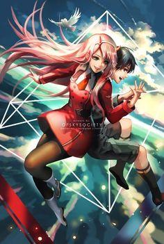 Zero Two and Hiro Anime Expo, Manga Anime, Anime Art, Me Me Me Anime, Anime Love, Anime Couples, Cute Couples, Zero Two, Best Waifu