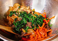 The BEST Japchae Recipe (Korean Glass Noodle Stir Fry)   잡채 — ahnesty Sauteed Carrots, Cooked Carrots, Japchae Recipe Korean, Japanese Gyoza, Korean Glass Noodles, Vermicelli Noodles, Asian Recipes, Ethnic Recipes, Saute Onions