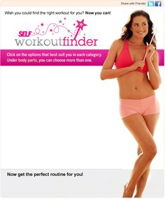 Self Workout Finder -- Find workouts that are specific to the target areas that you wish to focus on.