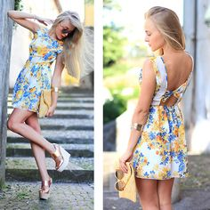 Pretty yellow and blue floral dress