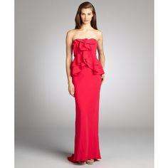 A.B.S. by Allen Schwartz Fuchsia Ruffled Bustle Waist Strapless Stretch Knit Evening Gown