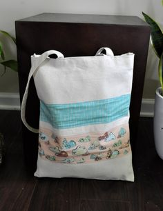 Canvas Tote Bag with Illustrated Abstract Mountain by yayhooray, $20.00