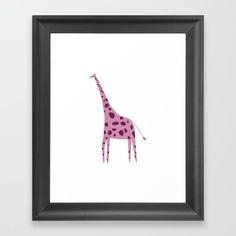 Pink Giraffe Digital Illustration Framed Art Print by diana_ioana Pink Giraffe, Digital Illustration, Framed Art Prints, Gallery Wall, Decor, Decoration, Decorating, Deco