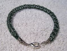 Viking Knit Bracelet Green with Clear Beads and by BraceletsByJoy