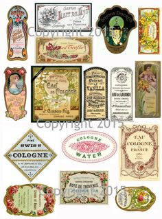 Printable French Vintage Perfume Labels Collage Sheet by joapan