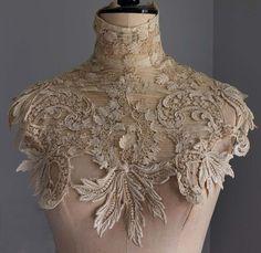 Edwardian guipure lace collar / dress yoke