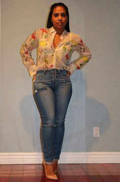 Wearing - Blouse, Denim, So Kate Nude Pumps,  Body Chain