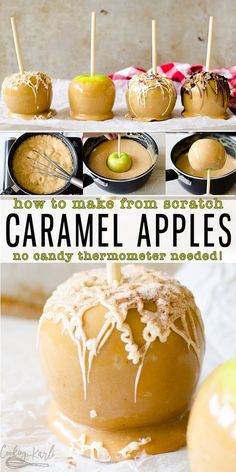 Caramel Apples - Cooking With Karli Caramel Apples are homemade with an easy, from scratch caramel. Dip the apples and drizzle with chocolate to create a gourmet caramel apple easily at home! This is the perfect fall time treat! Gourmet Caramel Apples, Caramel Recipes, Candy Recipes, Apple Recipes, Dessert Recipes, Candy Apples Recipe, Carmel Apple Recipe, Baking Desserts, Fruit Recipes