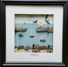 Mevagissey Pebble Art Sea Glass Art от CornishPebbleArt на Etsy