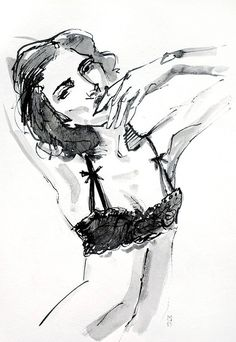 Original Ink Drawing Glamourous Woman in a Black Lace Bra Lingerie by Smogartist, £20.00