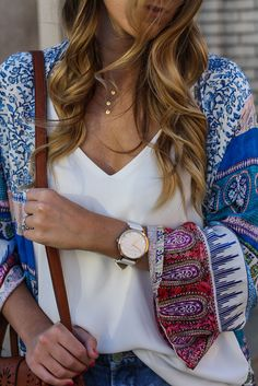 Piotr Jacket c/o Sky  // White Tank  // Denim Cutoffs  // Tory Burch…