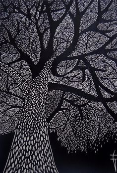 "Printmaking, ""L'arbre - Original Linocut / Tree / Nature / Forest / leaves - Limited Edition 10 of Art Scratchboard, Linocut Prints, Art Prints, Arte Alien, Black Paper Drawing, Linolium, Et Tattoo, Black And White Tree, Forest Illustration"