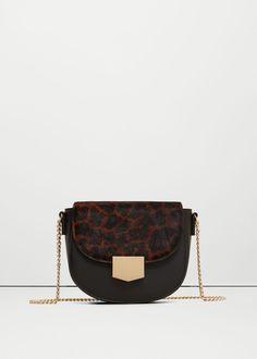 Leopard leather cross body bag | MANGO