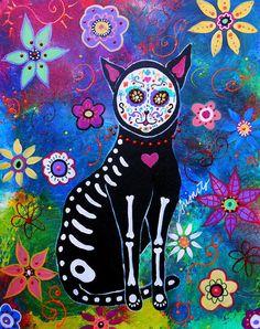 Cat Dia De Los Muertos Painting