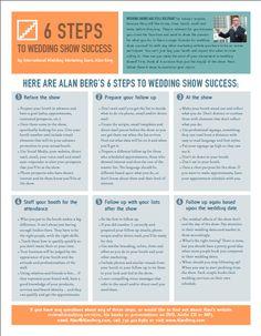 6 Steps to Wedding Show Success Wedding Expo Booth, Bridal Show Booths, Wedding Vendors, Wedding Tips, Wedding Planning, Weddings, Wedding Fayre, Wedding Reception, Reception Ideas