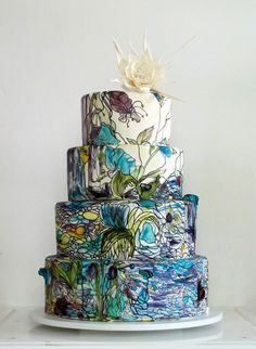 Stunning blues and white chocolate cake topper make this Maggie Austin hand painted wedding cake really stand out Creative Wedding Cakes, Amazing Wedding Cakes, Creative Cakes, Amazing Cakes, Unique Cakes, Creative Ideas, Deco Wedding Cake, Painted Wedding Cake, Gorgeous Cakes