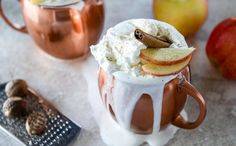 This Hot Cider Nog is made with apple cider, spices, bourbon and eggnog.
