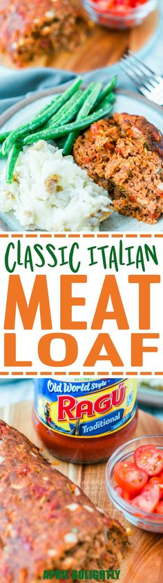Easy Italian Meatloaf Recipe made with ground beef potato sauce bread rosemary shallots garlic with a side of mashed potatoes & green beans Italian Meatloaf, Easy Meatloaf, Meatloaf Recipes, Vegetarian Recipes Dinner, Easy Dinner Recipes, Easy Meals, Yummy Recipes, Beans Recipes, Dessert Recipes