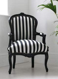 "Black and White Striped Chair ""Hattie"""