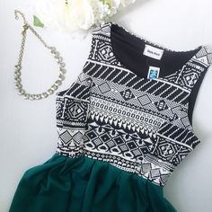 Style Rock // Aztec Print Babydoll Dress - green A great summer dress for those warmer days. Super short skirt and racer back top. Black and white embroidered top. Green circle skirt. Runs a bit small, more like a medium. NWT. Style Rock Dresses Mini