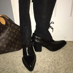 Cuoio Black Italian leather Riding boots Cuoio Black Italian leather and suede boots. Great boots for comfort yet very chic and sleek. Lots of detail, laces in front, equestrian style buckles on lower sides and top. Pre owned in great condition. Cuoio Shoes