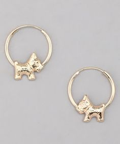 Take a look at this 10k Gold Scottish Terrier Endless Hoop Earrings by Shine Bright: Girls' Jewelry on #zulily today!
