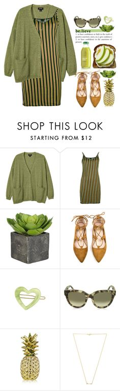 """""""Go for the Green!!"""" by prettynposh2 ❤ liked on Polyvore featuring Monki, Jean-Paul Gaultier, France Luxe, CÉLINE, Estée Lauder, Wanderlust + Co, cardigan and go"""