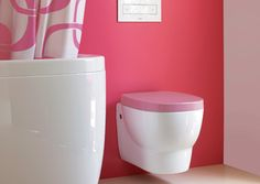 How cute is this?  Laufen toilet came out with this easy to clean wall mount toilet.
