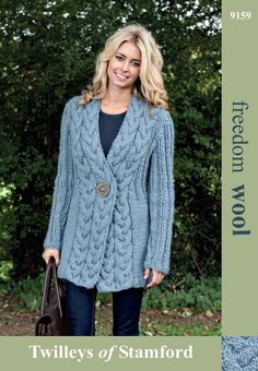 Cable Trim Jacket in Twilleys Freedom Wool - 9159. Discover more Patterns by Twilleys at LoveKnitting. The world's largest range of knitting supplies - we stock patterns, yarn, needles and books from all of your favourite brands.