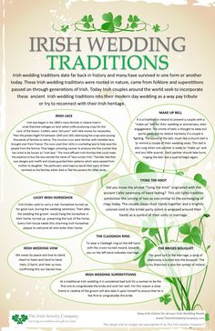 Wedding irish wedding traditions info graphic - Irish wedding traditions date far back in history and many have survived in one form or another today. These Irish wedding traditions were rooted in nature came from folklore and superstitions for …