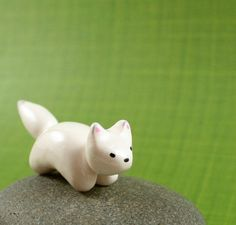 Motion Arctic Fox - Hand Sculpted Miniature Polymer Clay Animal