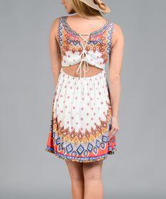 Love this White & Red Arabesque Empire-Waist Dress on #zulily! #zulilyfinds