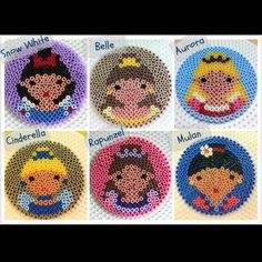 Perler Bead Disney Princess Coasters by D'LiLGal