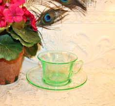 Soy Wax Vaseline Glass Tea Cup Candle,YOUR SCENT CHOICE,Homemade,Hand Poured,Gifts,Deco Style,Cambridge Glass,Uranium Glass,Depression Glass by HappyAccidentCandles on Etsy