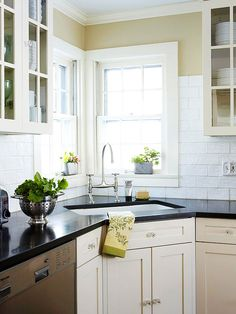 Traditional Style, Modern Convenience. Love the corner sink.