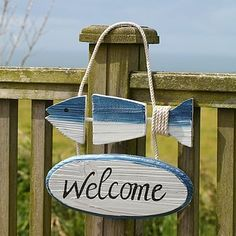 Wooden Fish Design Seaside Welcome Sign Fish Crafts, Beach Crafts, Driftwood Crafts, Wooden Crafts, Lake Decor, Coastal Decor, Wood Fish, Fish Design, Fish Art