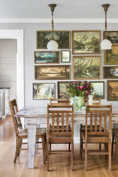 of the Most Beautiful Country Homes Across America Old landscape paintings make for appealing, earthy decor in this Oregon dinning room.Old landscape paintings make for appealing, earthy decor in this Oregon dinning room. Decor, House Design, Interior, Dining, Earthy Decor, Home Decor, Dining Room Decor, Country House Decor, Rustic House