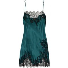 Carine Gilson Florence lace-trimmed silk-satin chemise ($295) ❤ liked on Polyvore featuring intimates, chemises, lingerie, blue, blue lingerie, carine gilson, blue chemise, lingerie chemise and lace trim chemise