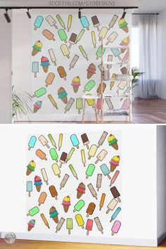 * Ice Cream Treats Wall Mural by #Gravityx9 at Society6 * Colorful illustration of ice cream cones and popsicles. * This design, with background color, is available on home decor, fashion, furnishings, wall decor, drink ware and more. * mural wallpaper * mural ideas * mural art * easy peel wall mural * self-adhesive wall murals * decorative wall art * self-adhesive wall art * mural wall art * #walldecor #homedecor #wallsticker #walldecal #inthekitchen #icecream #kitchendecor #popsicles 0621 Mural Wall Art, Wall Art Decor, Camping Pillows, Ice Cream Treats, Mural Ideas, Summer Design, Easy Peel, Food Themes, Popsicles