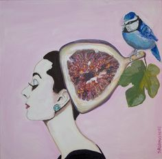 "Audrey with Fig  24""x24"" Sarah Ashley Longshore @ gallery-orange.com"