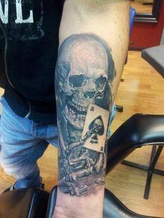 Skeleton Card Tattoo by Eddy Tattoo