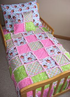 Rag Quilt Baby Toddler Girl Dora The Explorer Rag Quilt Set With Pillow
