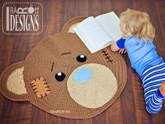 Ravelry: Classic Bear Crochet Rug Mat Nursery Carpet PDF Pattern pattern by Ira Rott Carpet Crochet, Crochet Home, Crochet For Kids, Knit Crochet, Double Crochet, Single Crochet, Bear Nursery, Nursery Rugs, Bernat Super Value Yarn