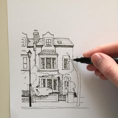 "2,960 Likes, 17 Comments - Phoebe Atkey (@phoebeatkey) on Instagram: ""#art #drawing #pen #sketch #illustration #linedrawing #architecture #house #building"""